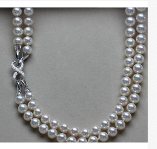 2 strands 9-10mm south sea round white pearl necklace 18