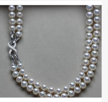 """2 strands 9-10mm south sea round white pearl necklace 18""""19"""">>>women jewerly"""