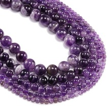 1strand/lot 6 8 10 12 mm Natural Dream Purple Amethystes Crystal Stone Round Beads Loose Spacer Bead For Jewelry Making Bracelet