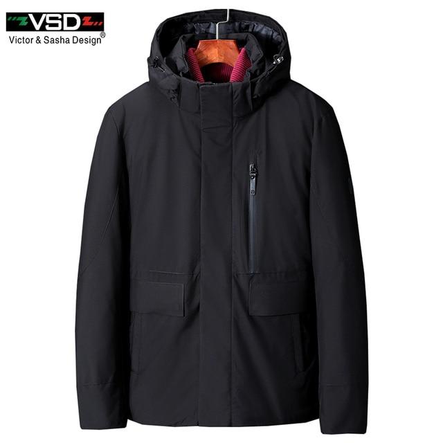 VSD зимняя куртка 2019 отсоединены Водонепроницаемый 70% белая утка вниз Для мужчин куртка толстые теплое пальто с капюшоном воротник ветровки Лидер продаж VS8879