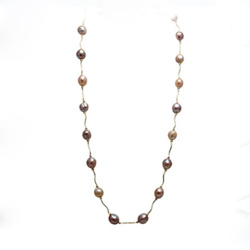 купить RUNZHUQIYUAN 2017 100% natural freshwater pearl long necklace silver jewelry baroque Pearl Jewelry For Women for girls gifts по цене 4011.85 рублей