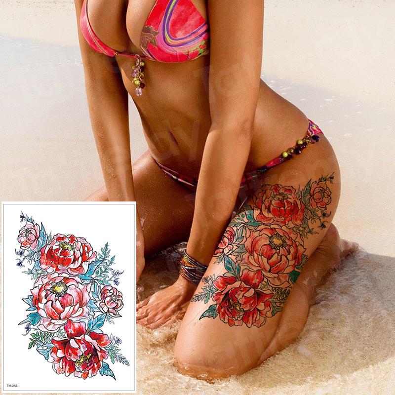 Waterproof Tattoo Stickers Bikini Peony Tattoo & Body Art Flower Rose Tattoo Fake Water Transfer Tattoo Temporary Tatoo Leg Arm