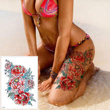 Wasserdichte tattoo aufkleber bikini pfingstrose tattoo & körper kunst blume rose tattoo gefälschte wasser transfer tattoo temporäre tatoo bein arm(China)