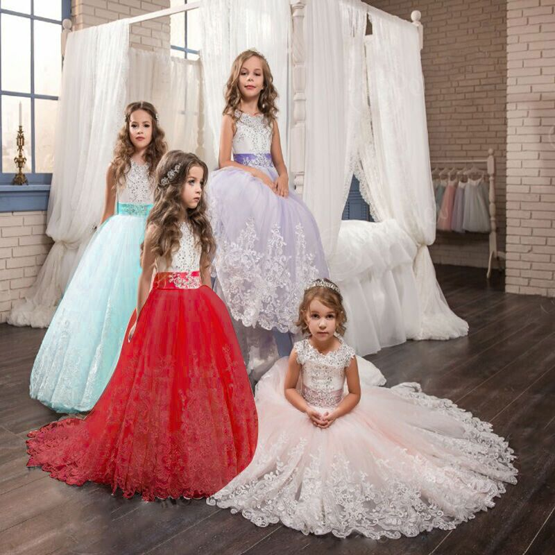 Girls   Evening Party   Dress   2019 Summer Kids   Dresses   For   Girls   Elegant Princess Costume   Flower     Girls     Dress   Children Wedding   Dress