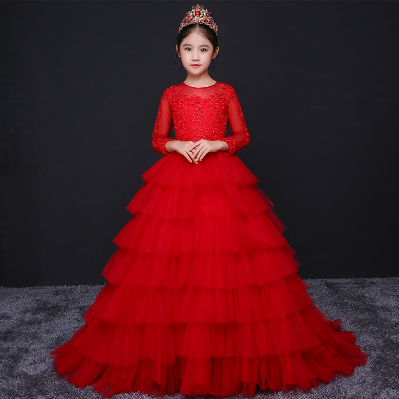 Appliques Princess Girls Dress 2018 Cute Kids Girl Dresses Red Luxury Costumes Layered Dress with long tail Elegant Clothing D53 long sleeves layered swing sweater dress