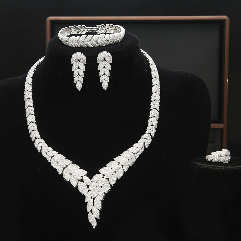 Hesiod New Luxury Saudi Wedding Party Jewelry Set White Cubic Zirconia Necklace Earrings Bracelet for WomenHesiod New Luxury Saudi Wedding Party Jewelry Set White Cubic Zirconia Necklace Earrings Bracelet for Women