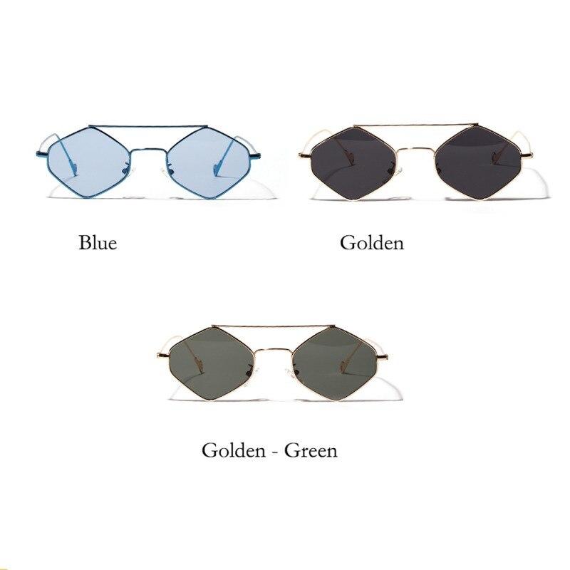 2019 Fashion Retro Elegant Clear Color Classic Glasses Small Diamond Shape Metal Frame Beach Sunglasses