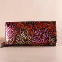 2018 Fashion Women Wallets Genuine Leather Floral Embossed Long Purse Luxury Brand Female Coin Card Holder Purses