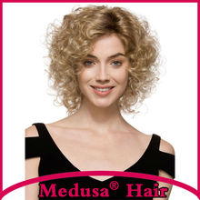 Medusa hair products: Synthetic lace front wigs for women Medium length curly shag styles blonde pastel wig Peruca loira SW0276C