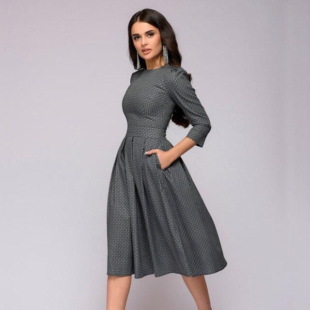Women Dress 2018 Fall Printing With Pockets Casual Midi Party Dress Ladies Autumn Winter Three Quarter Vintage Christmas Dresses
