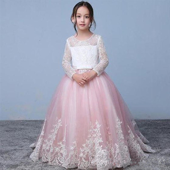 Vintage Flower Girl Dress with Lace Appliques Long Sleeves Zipper Back Toddler Party Dress JewelNeck Custom Made Kids Prom Dress