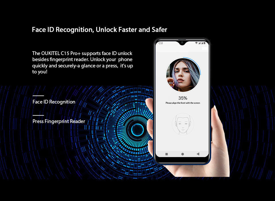 HTB18feDXAT2gK0jSZFkq6AIQFXay OUKITEL C15 Pro+ 6.088'' 19:9 Android 9.0 Cellphones 3GB 32GB MT6761 Waterdrop 4G Smartphone Fingerprint Face ID 5G WiFi Phone
