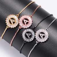Cubic Zirconia 26 Alphabet Letter Charm Bracelets geometric Copper A-Q Initial Chain Link Bracelets for Women Men Jewelry