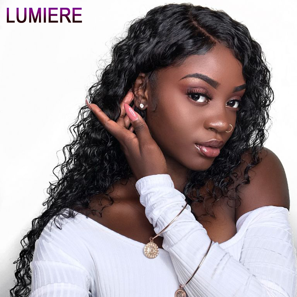 Lumiere Hair Brazilian Water Wave Lace Front Human Hair Wigs For Women #1B Black Remy Human Hair Wigs With Baby Hair Pre-Plucked(China)