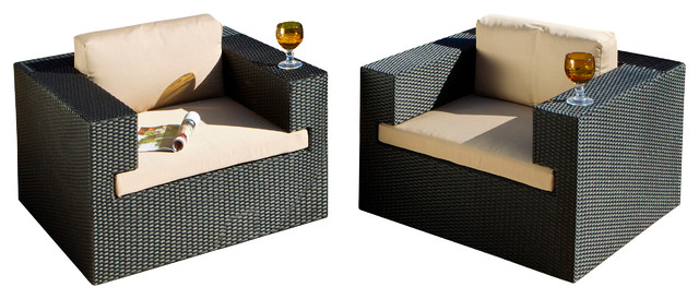 2017 All Weather Outdoor Wicker Club Chairs (Set of 2)