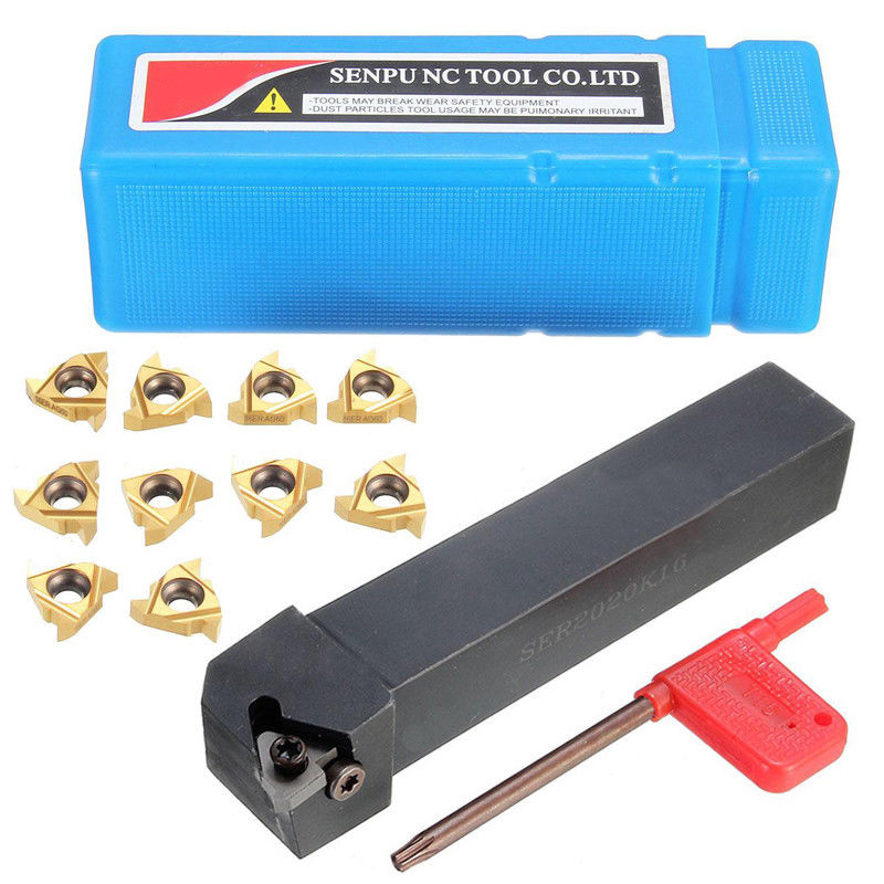 10Pcs 16ER AG60 Carbide Insert Threading Lathe Turning Tool Holder T15 Wrench US