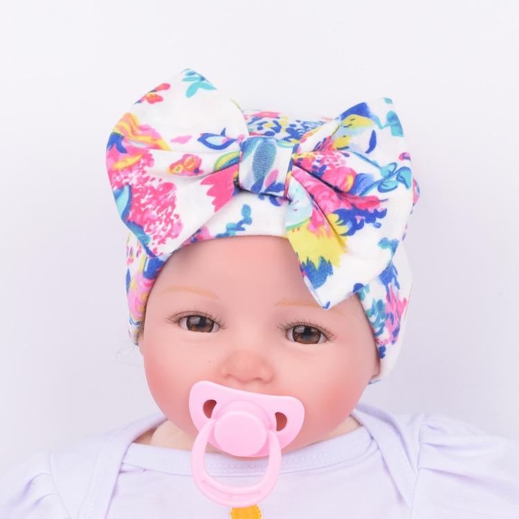 2017 Newborn Kids Muts Cute Hat Stripe Bow print Nursery Hat Cap with Big  Bow headband newborn headband-in Hair Accessories from Mother   Kids on ... 588c9370c28