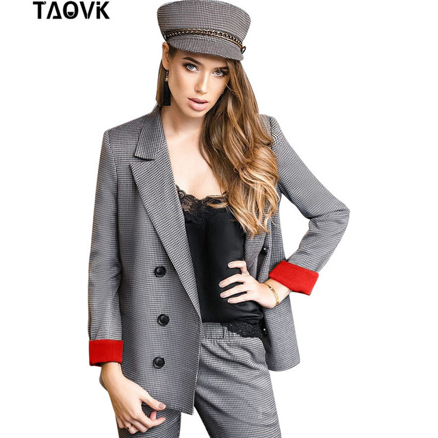TAOVK Plaid Pant Suits Women's Suits Set Double Breasted Red Cuff Blazer Jacket Straight Pant two Pieces set Office Lady Outfits