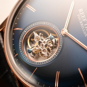 Image 3 - Reef Tiger/RT Men Luxury Brand Tourbillon Watch Blue Rose Gold Automatic Watches Genuine Leather Strap relogio masculine RGA1930