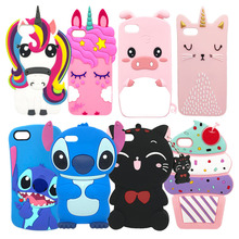 3D Cute Stitch Unicorn Cat Rubber Case For iPhone