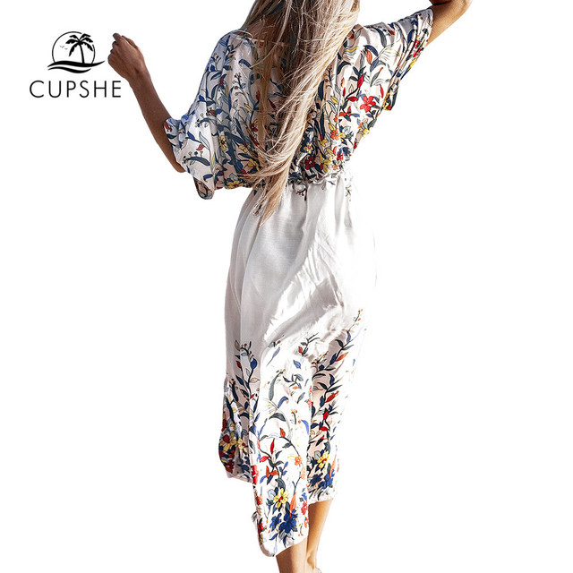 CUPSHE Wildflower Midi Bikini Cover Up Sexy Lace Up Women Long Dress Capes 2020 Summer Beach Bathing Suit Beachwear 3