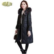Chaqueta de cuero de invierno de alta calidad con cuello de piel de ante y cuero 2019 nueva chaqueta de piel de oveja con capucha para mujer LH339