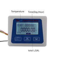 LCD Digital Flow Meter Water Flowmeter Temperature Time Record with G1/2 Flow Sensor