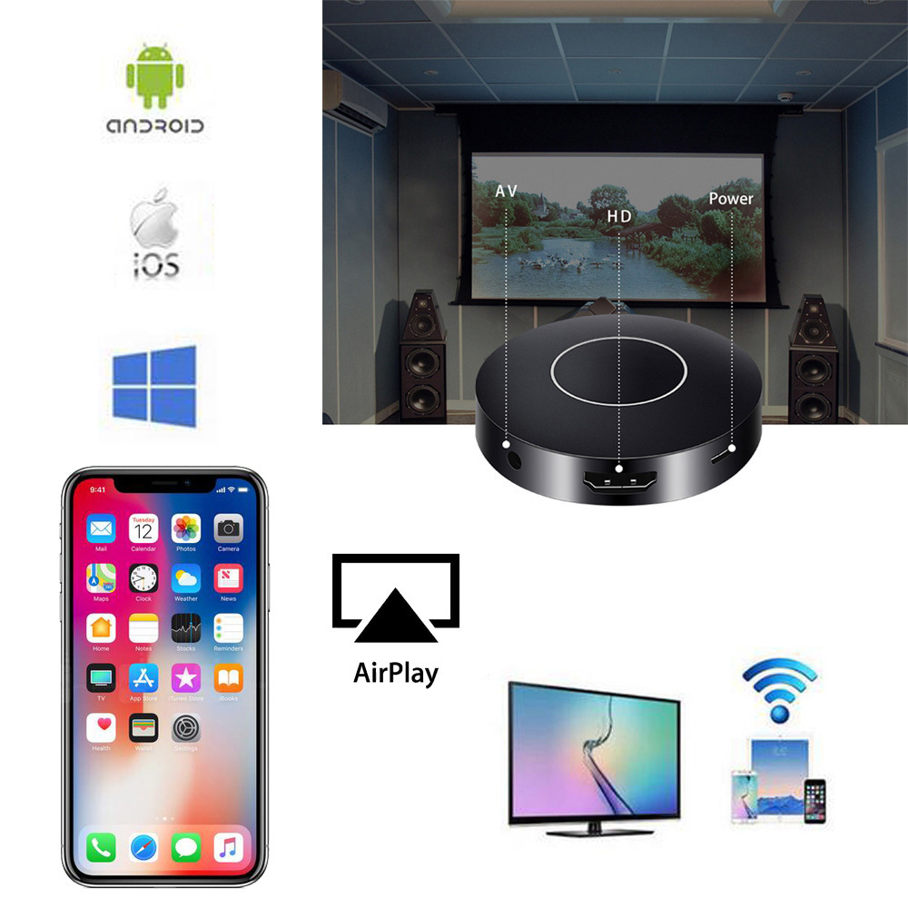 Wireless Wifi Screen Push Cast Display Tablet PC AnyCast DLNA Airplay Dongle Sharing to HDTV + AV RCA TV Stick for iphone 8 x