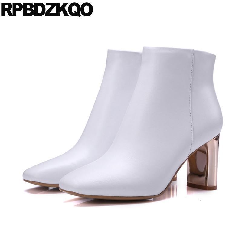 Celebrity Luxury Brand Shoes Women Booties Chunky White 2017 Genuine Leather Fall Autumn Square Toe Designer Ankle Boots High