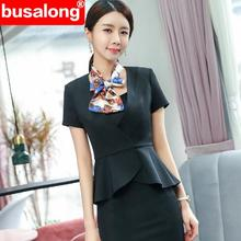Skirt Suits Two-Pieces-Set Professional Blazer Short-Sleeve Business Plus-Size Spring