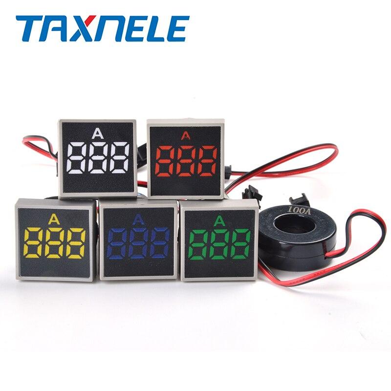 Цифровой амперметр, тестер с квадратной панелью, Led сигнальная лампа, пилотный светильник, 22 мм, диапазон 0 100 А, 380 В переменного тока|Измерители тока|   | АлиЭкспресс