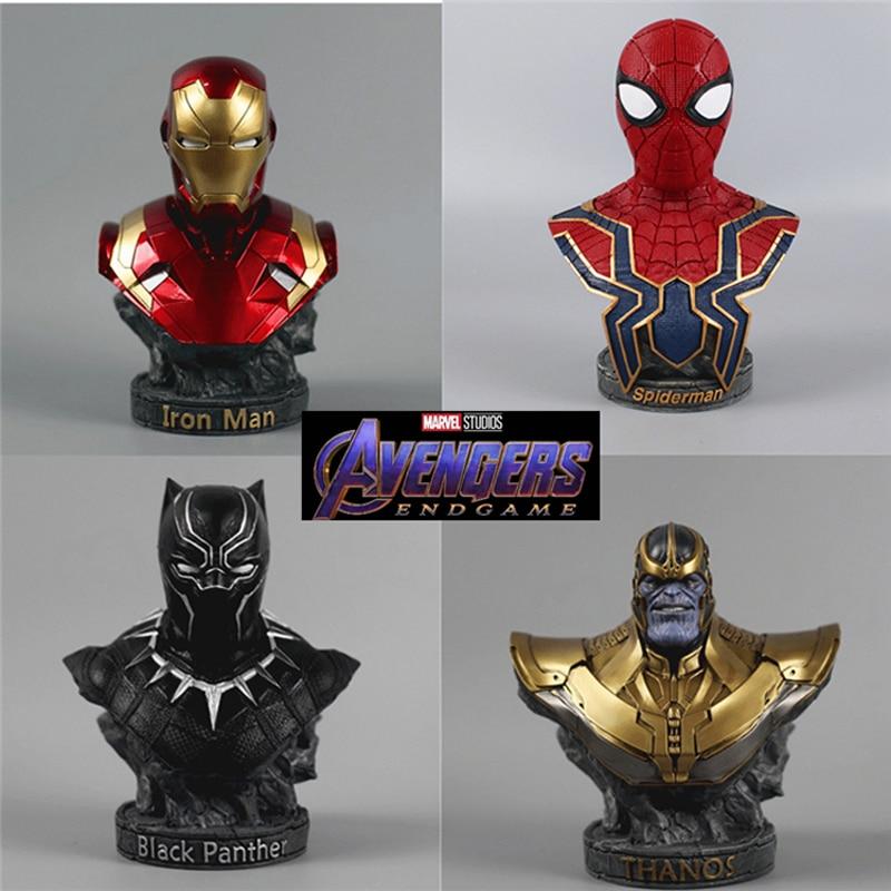 Marvel Avengers Final Battle, Iron Man Black Panther Spiderman Doctor Strange 18cm Color Bust Statue