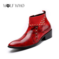 Luxury Brand Men Shoes Rivet Boots Pointed Toe Square Heels Zapatos Botas Patent Leather Ankle Boots