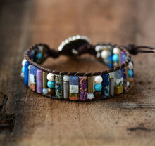 Women Boho Bracelet Tube Shape Natural Stone Stone Single Leather Wrap Bracelet Semi Precious Stone Beaded Cuff Bracelet