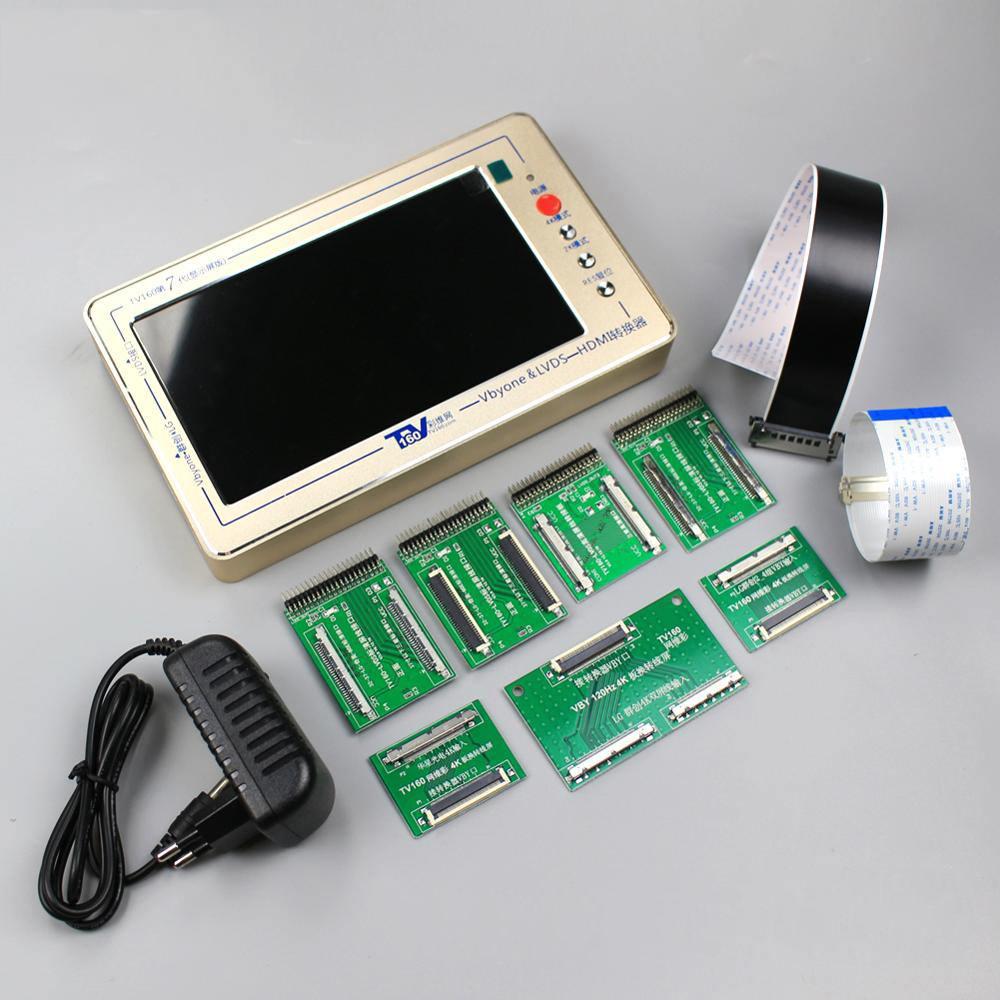 TV160 7th TV testeur de carte mère outils Vbyone & LVDS vers HDMI convertisseur avec sept plaques d'adaptation