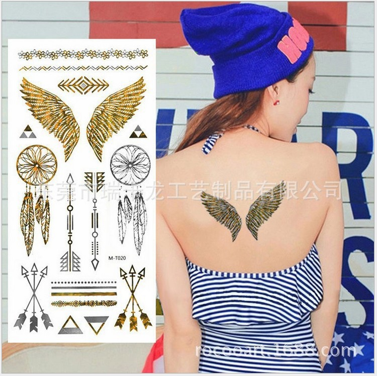 Fashion tattoo sticker metal arrow feather wings stickers toys