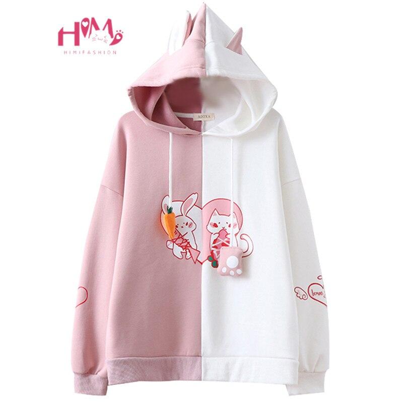 2019 Kawaii lapin oreille sweat à capuche pour femme mignon lapin chat belle sweat Harajuku filles douces Anime rose pull survêtement survêtement