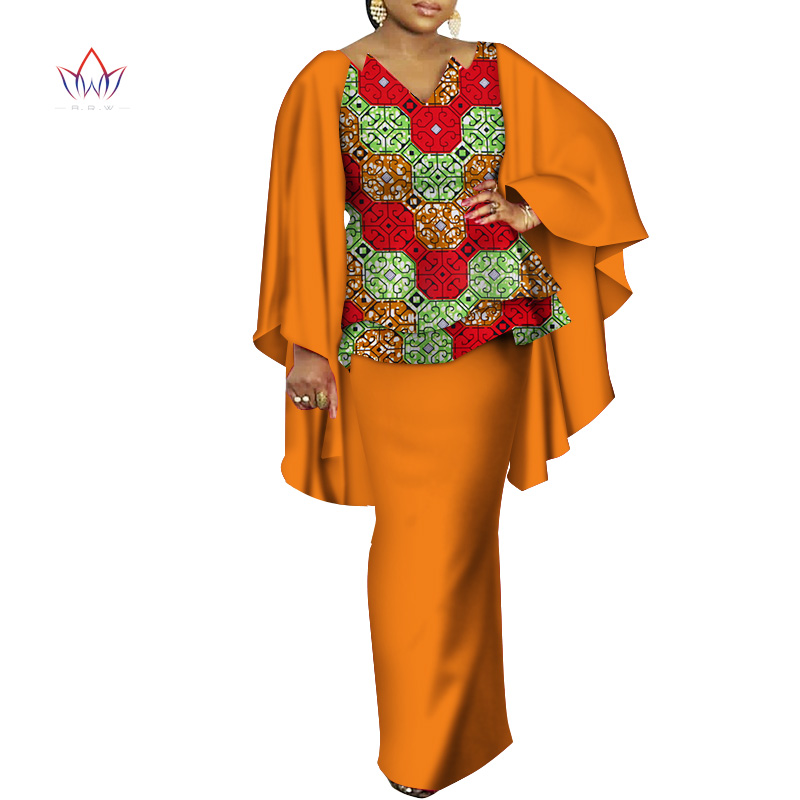 African Dresses For Women Bazin Riche African Clothes 2 Pieces Sets Dashiki Women Print Ruffle Sleeve Top And Skirt Sets WY3498