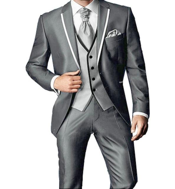 b4de840ebaf7 New Arrival Bespoke Light Grey Classic Wedding Groom Suit For Men Wedding  Tuxedos Groomsmen Best Man Suit (Jacket+Pants+Vest)