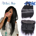 Elees Hair Weave Bundles with ear to ear Closure 13*4 cheap Peruvian virgin hair straight lace frontal closure with hair bundles