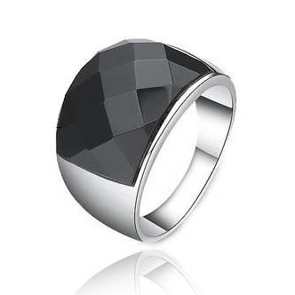 316L Titanium Steel Inlay Black Onyx Mens Ring fashion version of