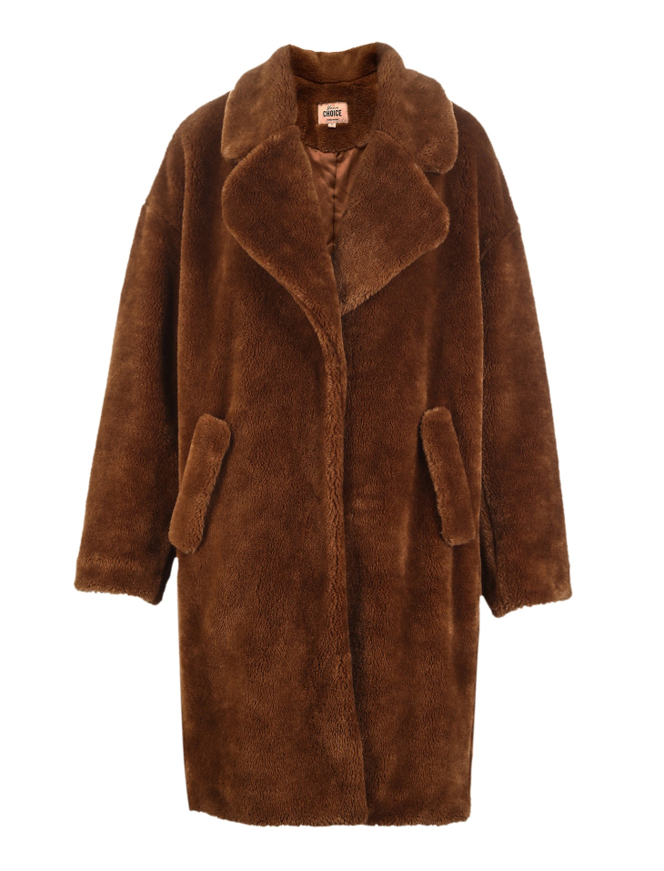 Vero Moda lapel drop shoulder long teddy bear winter coat jacket | 318309503 31