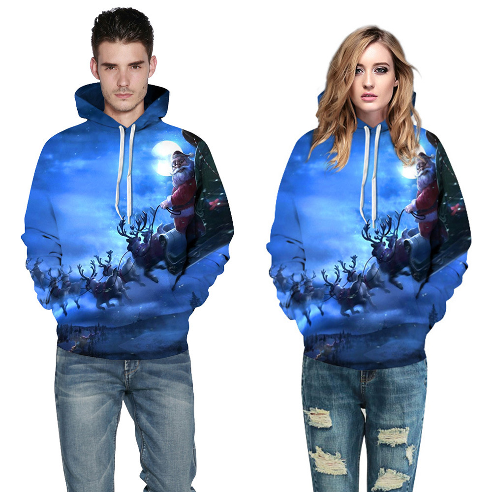 Men/Women Spring/Autumn Hooded Hoodies With Cap Hot Style Santa Sleigh Digital Printing With Hood Fleece S-3XL