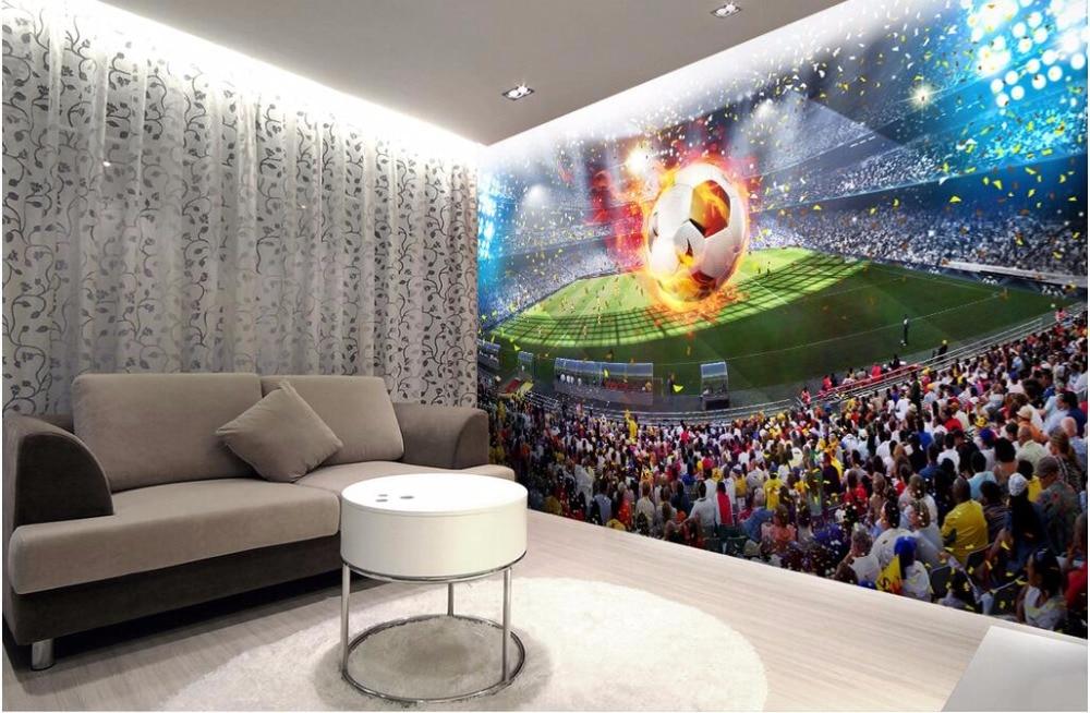 Купить с кэшбэком Custom mural 3d photo wallpaper picture soccer field room decor background painting 3d wall murals wallpaper for walls 3 d