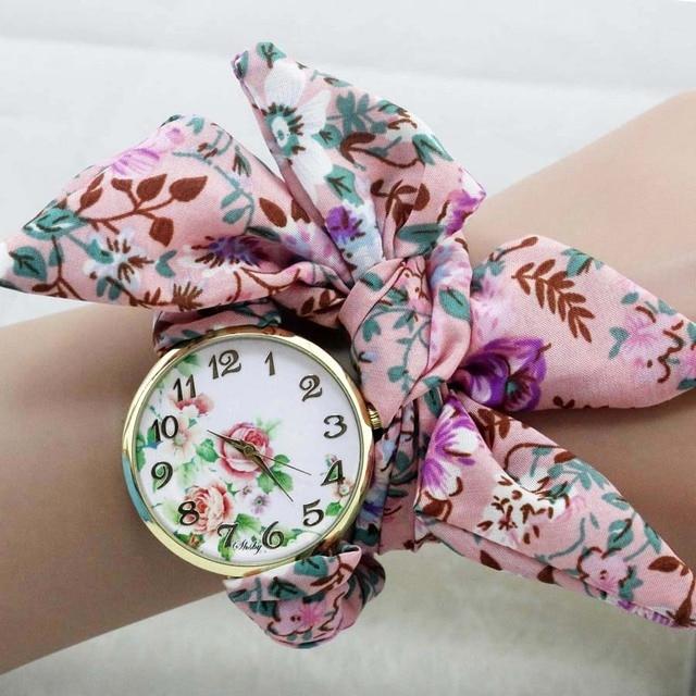 shsby unique Ladies flower cloth wristwatch fashion women dress watch Silky chiffon fabric watch sweet girls Bracelet watch
