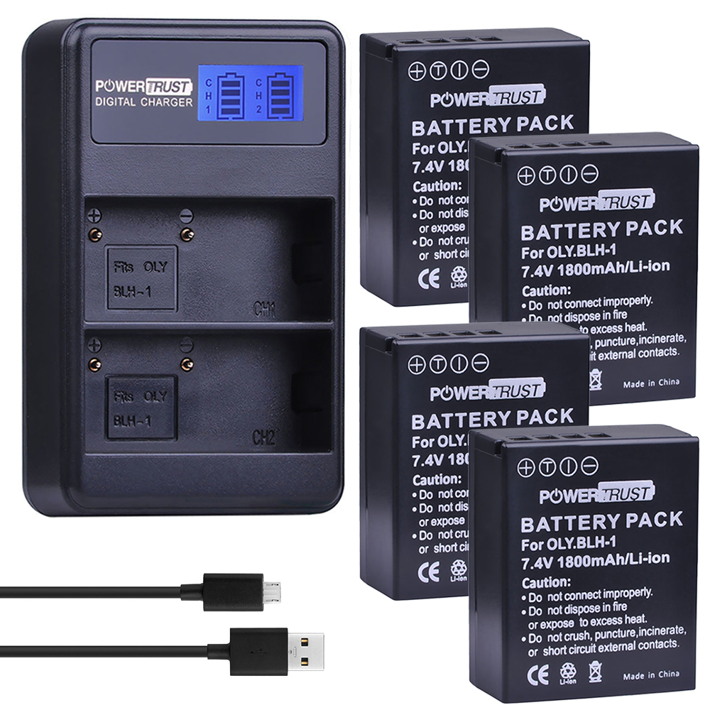 PowerTrust 4Pcs BLH-1 BLH1 BLH 1 Replacement Li-ion Battery and LCD USB Dual Charger for Olympus E-M1 Mark II Camera