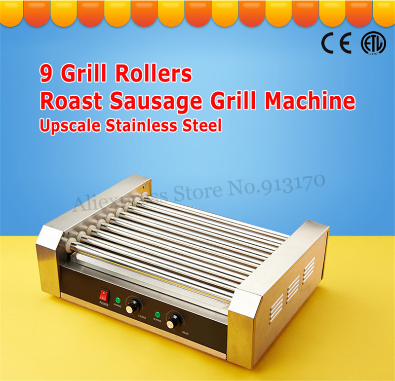 Stainless Steel Hotdog Roller Grilling Machine Commercial Sausage Roasting Grill Hot Dog Maker 9 Rollers 1800-Watt Low Noise CE
