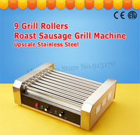 Stainless Steel Hotdog Roller Grilling Machine Commercial Sausage Roasting Grill Hot Dog Maker 9 Rollers 1800 Watt Low Noise CE