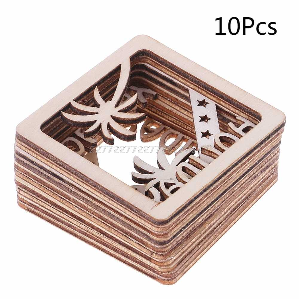 10pcs Laser Cut Wood Photo Frame Shapd Embellishment Wooden Shape Craft Wedding Decor J09 19 dropship