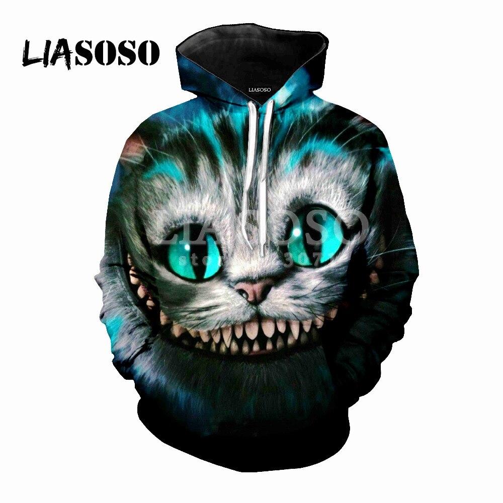 LIASOSO Autumn New Men Women Fashion Sweatshirt 3D Print Cheshire Cat Hoodie Harajuku Long Sleeve Cute Top Casual Pullover M054